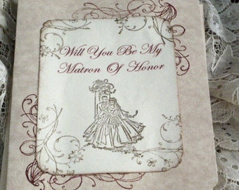 Will You  Be My Matron of Honor  Wedding Day Card