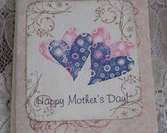 Happy Mothers Day Greeting Card with Colorful Hearts
