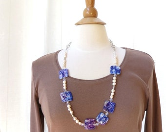 Necklace long blue faux paua shell and freshwater pearls SALE HALF PRICE