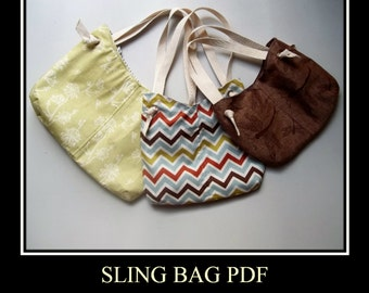 McIntosh Sling Purse Tutorial PDF Instructions- - Sling Bag - - 3 Bag Sizes - - Color Photos - - Printable Pattern - - Emailed Instructions