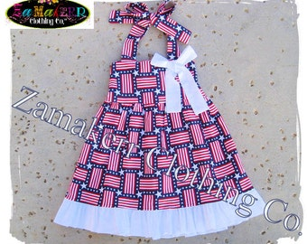 FOURTH of JULY Girl Halter Dress - Red White Blue - Patriotic Girl Dress in Sizes 3, 6, 9, 12, 18, 24 month, 2, 2t, 3t, 3, 4, 4t, 5, 6, 7, 8