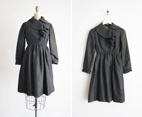 SALE - Geoffrey Been dress / black silk dress / ruffle dress