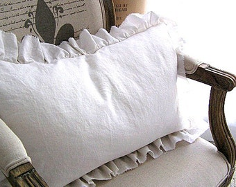 Made To Order White Linen Cotton Blend Plain Front Pillow Ruffle SLIP COVER