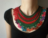 Sarracenia Rubra ... Freeform Crochet Beaded Necklace -  Magenta Pink Red Green - Colorful Flowers - Beadwork Bib Statement Necklace
