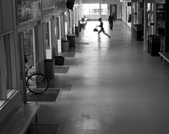 Sprinting through the seabus terminal / SEABUS 8//  5x7 photography  black and white wall decor