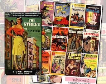 Vintage Pulp Fiction Paperback Novel Covers digital collage sheet No 5 genre fiction 1950's 1940's teenage gangs detective noir novel