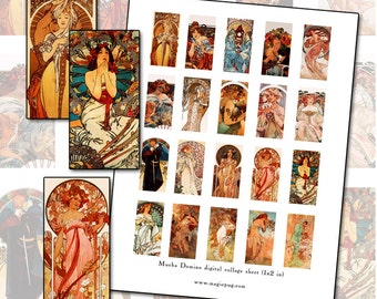 "Alphonse Mucha domino 1x2"" 25mm x 50mm rectangle digital collage sheet Art Nouveau poster art"