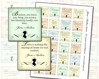 Jane Austen quotes 1.5 inch squares 38mm digital collage sheet  -- INSTANT DOWNLOAD