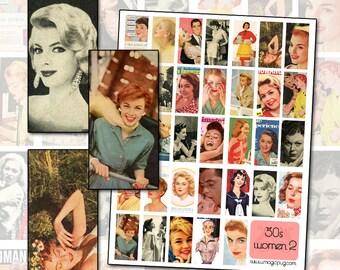 Vintage 50s Women II Digital Collage Sheet 1x2 inch 25mm x 50mm
