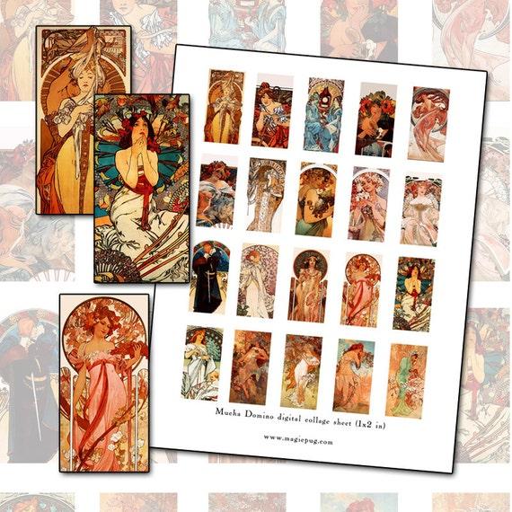 "Alphonse Mucha domino 1x2"" 25mm x 50mm rectangle digital collage sheet Art Nouveau poster art"