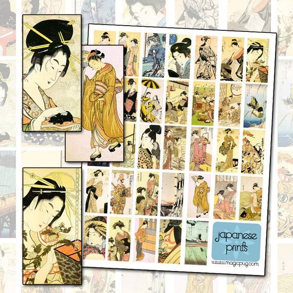 Japanese Woodblock print digital collage sheet ukiyo-e masterpiece 1x2 inches 25mm x 50mm