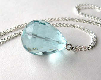 Light Blue Pendant Necklace, Silver Chain Necklace, Aqua Quartz Pear Teardrop Pendant, 18 Inch, Handmade, Blue Pear
