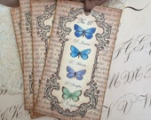 Butterfly Tags -  Vintage Style Tags - Colorful Blue Butterfly - Set of 4
