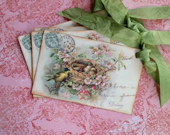 French Bird Nest Tags, Vintage Bird  Tags - French Postcard Tags - Set of 4
