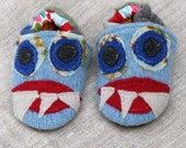 Lucky Monster Wool Slippers Kids fits 6-12 months old made from recycled materials