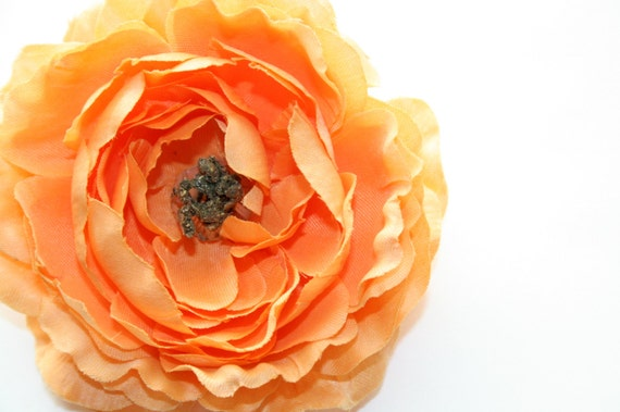 Ruffle Ranunculus in Coral - 4 Inches  ... silk flower, artificial flower, millinery craft - ITEM 0588