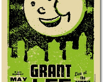 Grant Lee Phillips of Grant Lee Buffalo silkscreen print - Screenprinted Concert Poster - Columbus, OH 2010 - Moon - City - Gigposter