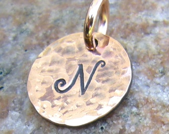 Small Copper Tag Charms, 1/2 inch, Hand Stamped Letter, Custom Initial, Hammered Texture, Add a Tag, Rustic Jewelry