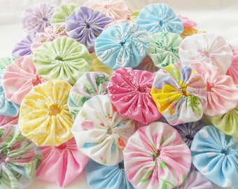 Fabric Flowers Hair Clip 40 Bobby Pin Barrette PASTEL Pinwheel Card Making Scrapbook YoYo Quilt Headband Embellishment