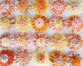 Fabric Flowers Circus 40 Pinwheel PASTEL Cupcake Candy Toppers Bobby Pin Barrette Card Making Scrapbook YoYo Quilt Headband Embellishment