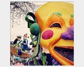 Mardi Gras Mask Float: square fine art photograph print of smiling face in bright yellow, green, purple (Endymion parade, New Orleans)