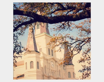 New Orleans Church Photo, Cream Light Blue Art, French Quarter Art, St. Louis Cathedral, Blue Gold Brown, Old Church Photo, Square NOLA Art