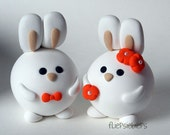 Custom Round Bunnies Wedding Cake Topper