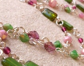 Glass Bead Jewelry - Glass Bead Necklace - Long Necklace - Women's Beaded Necklace - Pink and Green Necklace - Spring Green and Pink Series