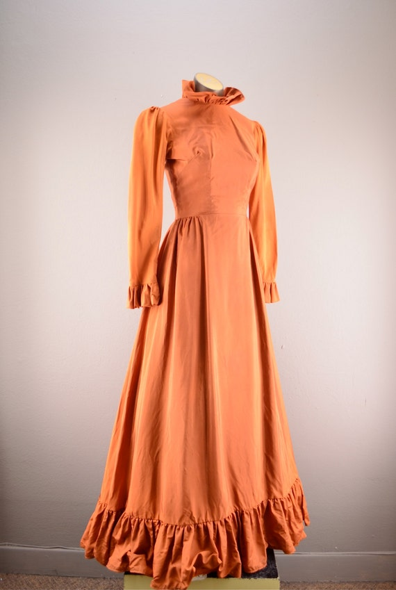 60s renaissance gown  orange maxi  victorian style dress full length ruffled steampunk size small sienna rust colored