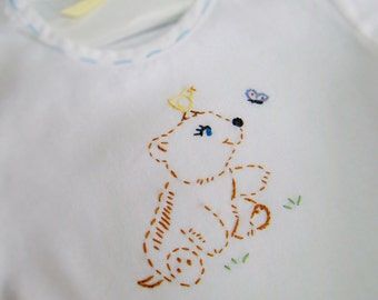 Vintage Style Baby Bear Cub - Hand Embroidered Cotton Boy's Bubble Romper (Made to Order Any Size)