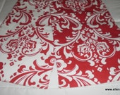 Free Domestic Shipping-Lined-Reversible-Padded-Decorative Table Runner- Traditions White on Lipstick Red Damask
