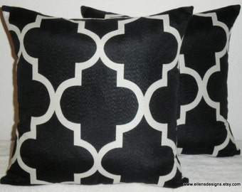 Decorative-Accent-Throw-Set of Two Pillow Covers -18 inch Geometric Quatrefoil Cream on Black-Free US Shipping