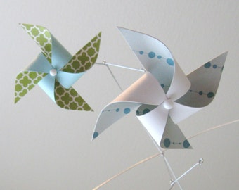Pinwheel Mobile / Baby Boy or Girl Mobile / Nursery Decor / Crib Mobile / Blue, Green and White : Calm Cool and Collected