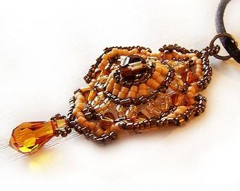 Topaz Romantic Victorian Pendant Necklace - Swarovski and Delica Beads Beadwork Necklace
