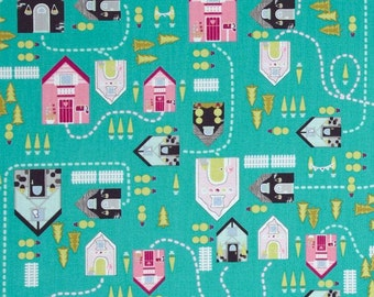LAST 34 Inches - Storybook Lane By Andover Fabrics - Village On Teal - 7.50 Dollars