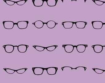 LAST 12 Inches - Geeky Glasses - Geeky Chic Fabric By Riley Blake - Lavendar - 3.25 Dollars