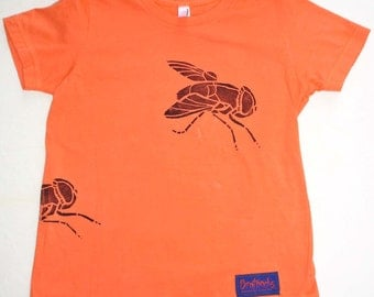 CLOSEOUT -- Super Fly hand-dyed, block printed t-shirt - Orange