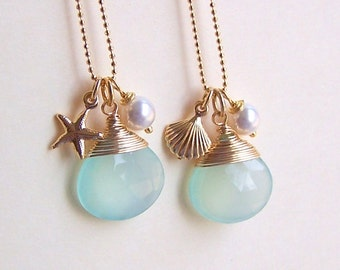 Bridesmaid Gifts - Nautical Jewelry, Beach Weddings, Starfish Charm Necklace, Seashell Charm Necklace, Chalcedony Blue Stone - 4080