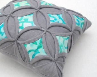 Sale Gray Turquoise Aqua Batik Quilted Pincushion Cathedral Window Pillow - 5 Inches Square
