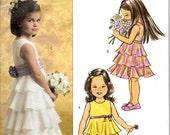 Butterick 4967 Childs Communion Bridesmaids Wedding Flower Girl Dress SZ 2-6   Uncut Factory Folded