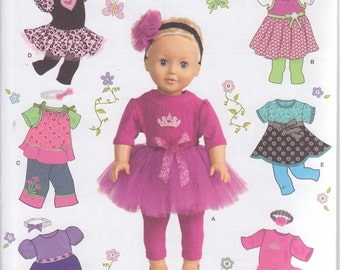 """Simplicity 1711 Sewing Pattern For 18"""" American Girl Doll Gotz Doll Clothes Tutu Dresses Tops Pants New and Uncut"""
