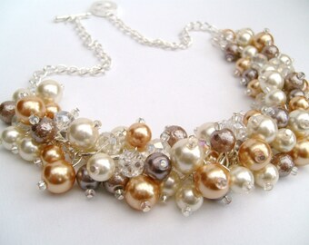 Pearl Beaded Necklace, Bridal Jewelry, Ivory Gold and Taupe, Neutral Colours, Cluster Necklace, Chunky Necklace, Bridesmaid Gift