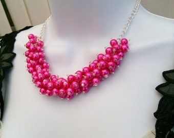 Hot Pink Beaded Necklace, Pink Bridesmaid Jewelry, Cluster Necklace, Chunky Necklace, Bridesmaid Gift, Bridesmaid Necklace