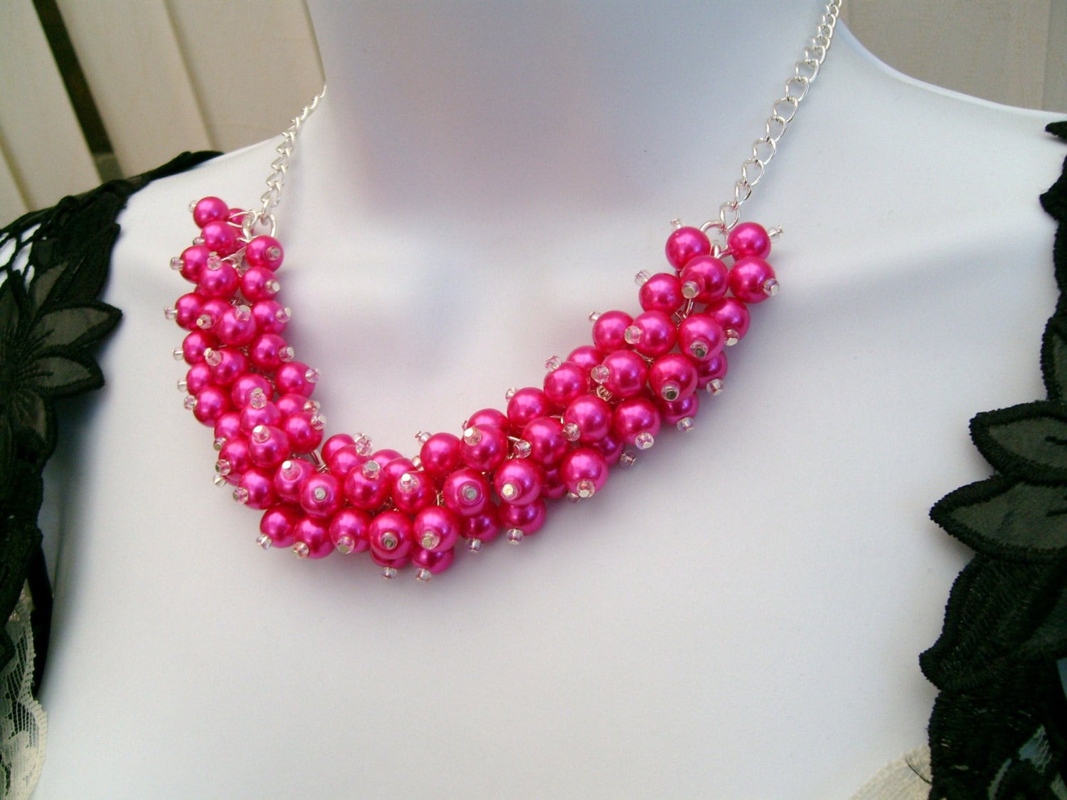 pink beaded necklace pink bridesmaid jewelry cluster