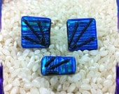 Dichroic Glass Cufflinks with Matching Tie Stud Pin - Two Tone Turquoise Blue