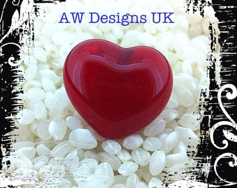 Small Glass Brooch / Pin .. Semi Transparent Rich Red Love Heart - Gift Boxed