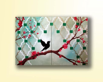 Emerald Green Painting of a Bird on a Branch...Singing in the Spring...Abstract Contemporary Modern Bird Art Diptych Painting by HD Greer