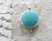 Framed Turquoise stone pendant Connector
