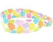 Rainbow of Roses Headband Fabric Headband - Adjustable Elastic - Pink Yellow Orange Purple Green Turquoise Floral