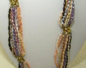 Antique 8 Strand Fresh Water Dyed Pearl Necklace with 10K Clasp